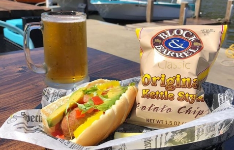 Hot Dog and Chips with Beer on the Old Boat House Patio