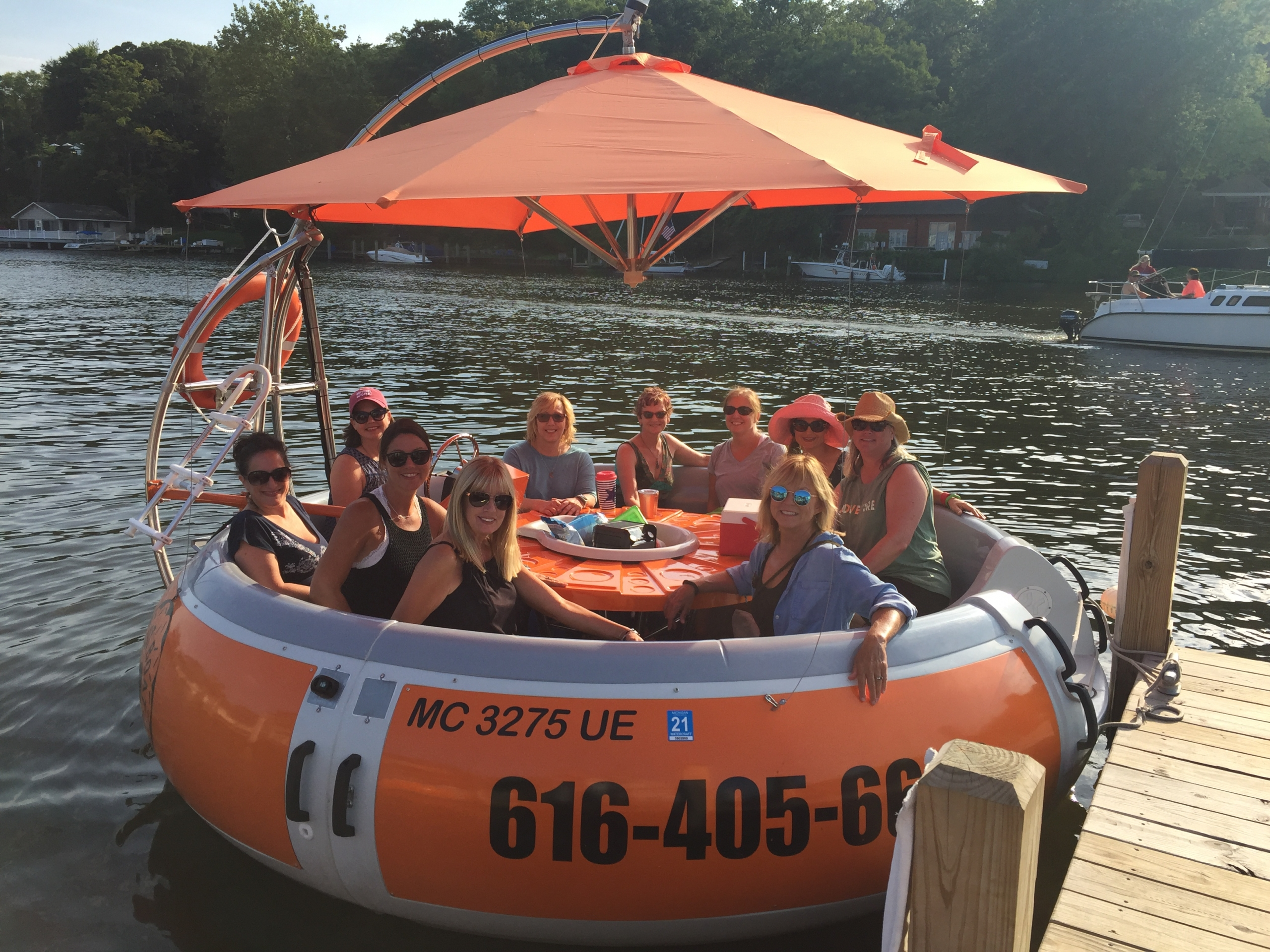 Pet friendly Donut Boats are great for swimming off of at the Cove