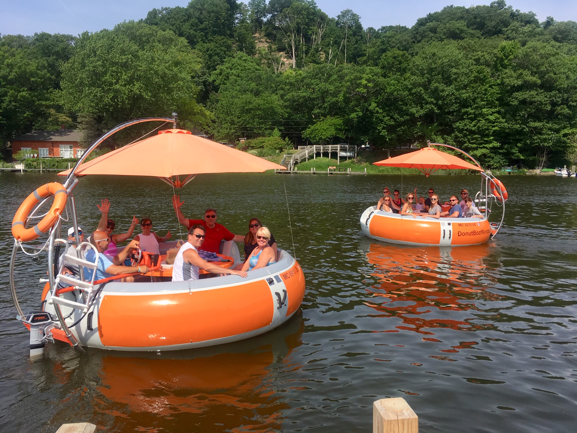 Donut Boats seat up to 10 people and are pet friendly