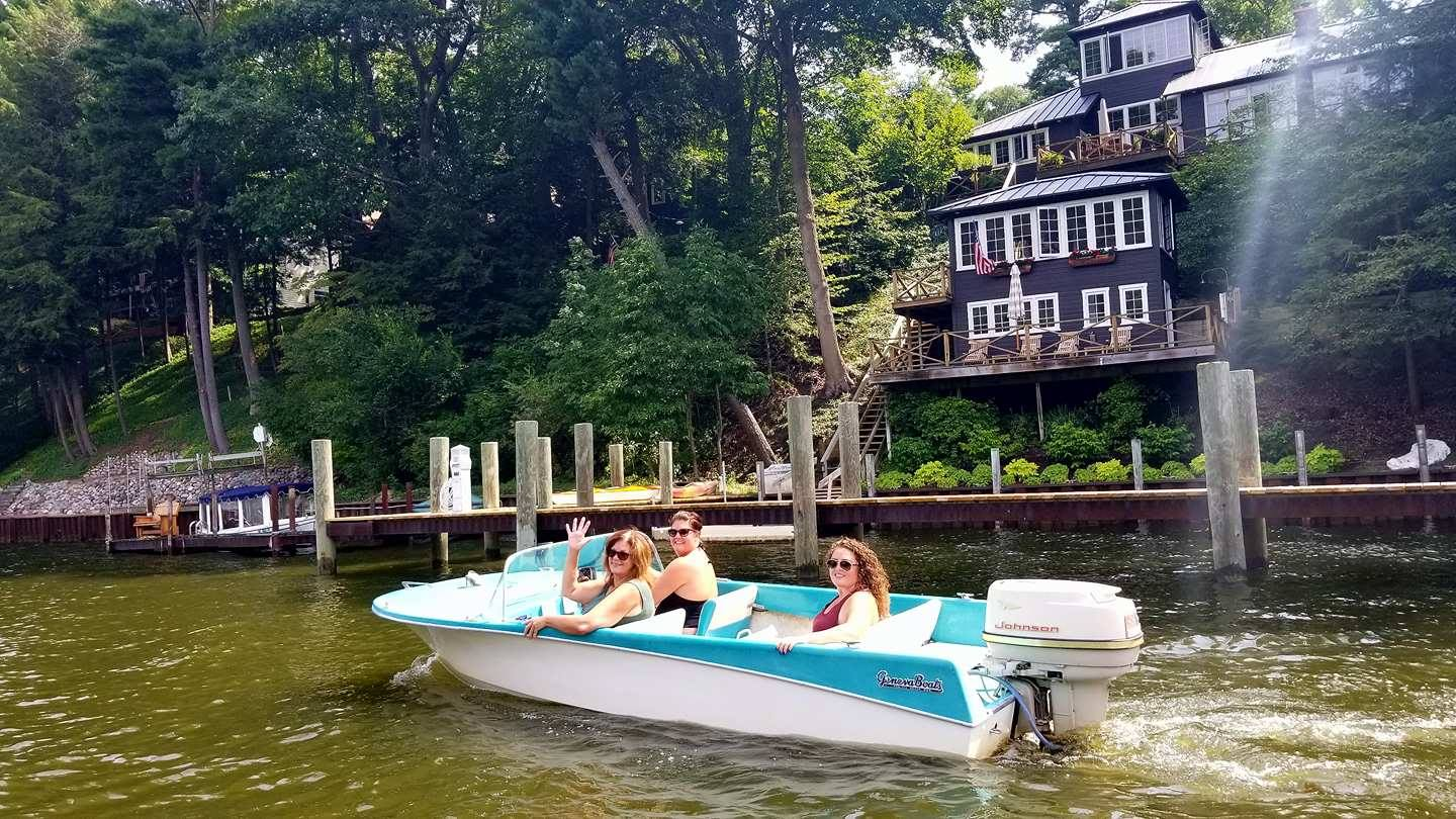 Retro Boat Jane Rented on the Kalamazoo RIver