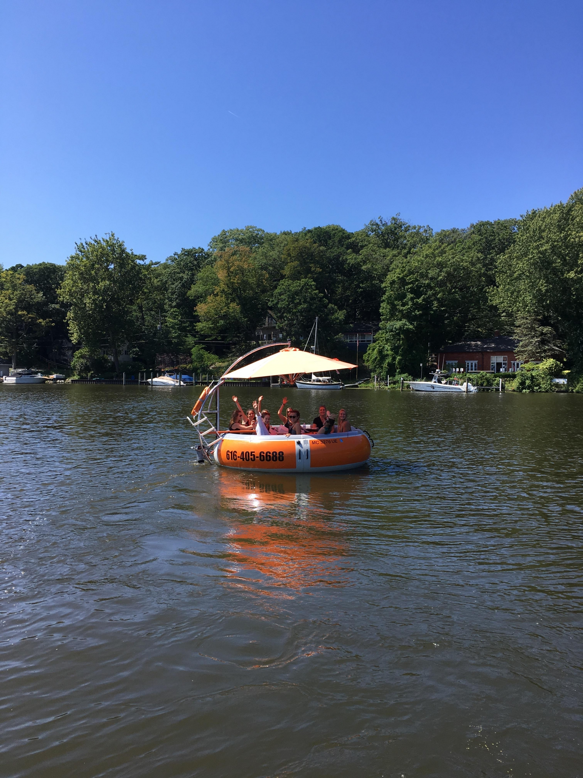 Donut Boats seat up to 10 people and are easy to drive
