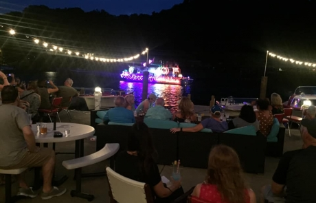 The Old Boat House Patio during Venetian Festival in Saugatuck