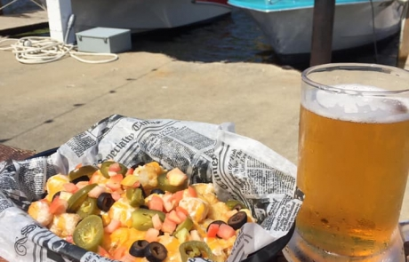 Tater Tots and Beer on The Old Boat House Patio