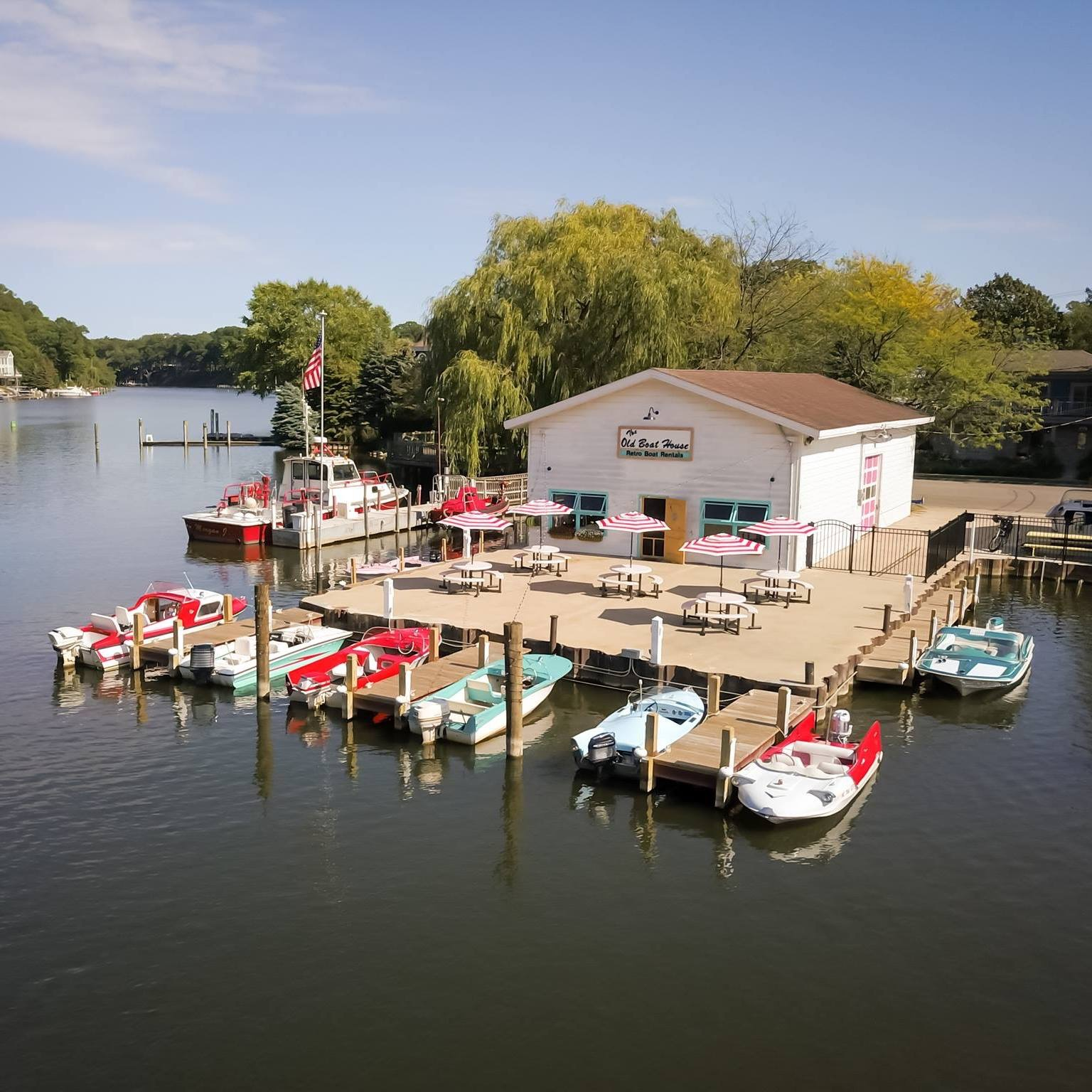 The Old Boat House with Retro Boats for Rent in Saugatuck Michigan