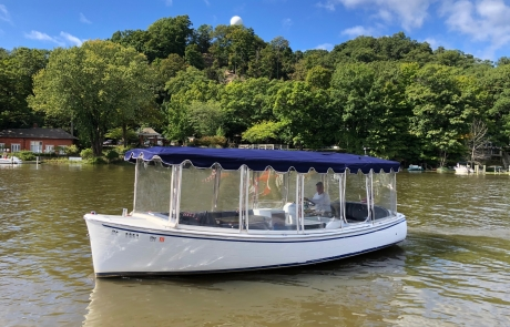 Duffy Boat in front of Mt. Baldhead in Saugatuck