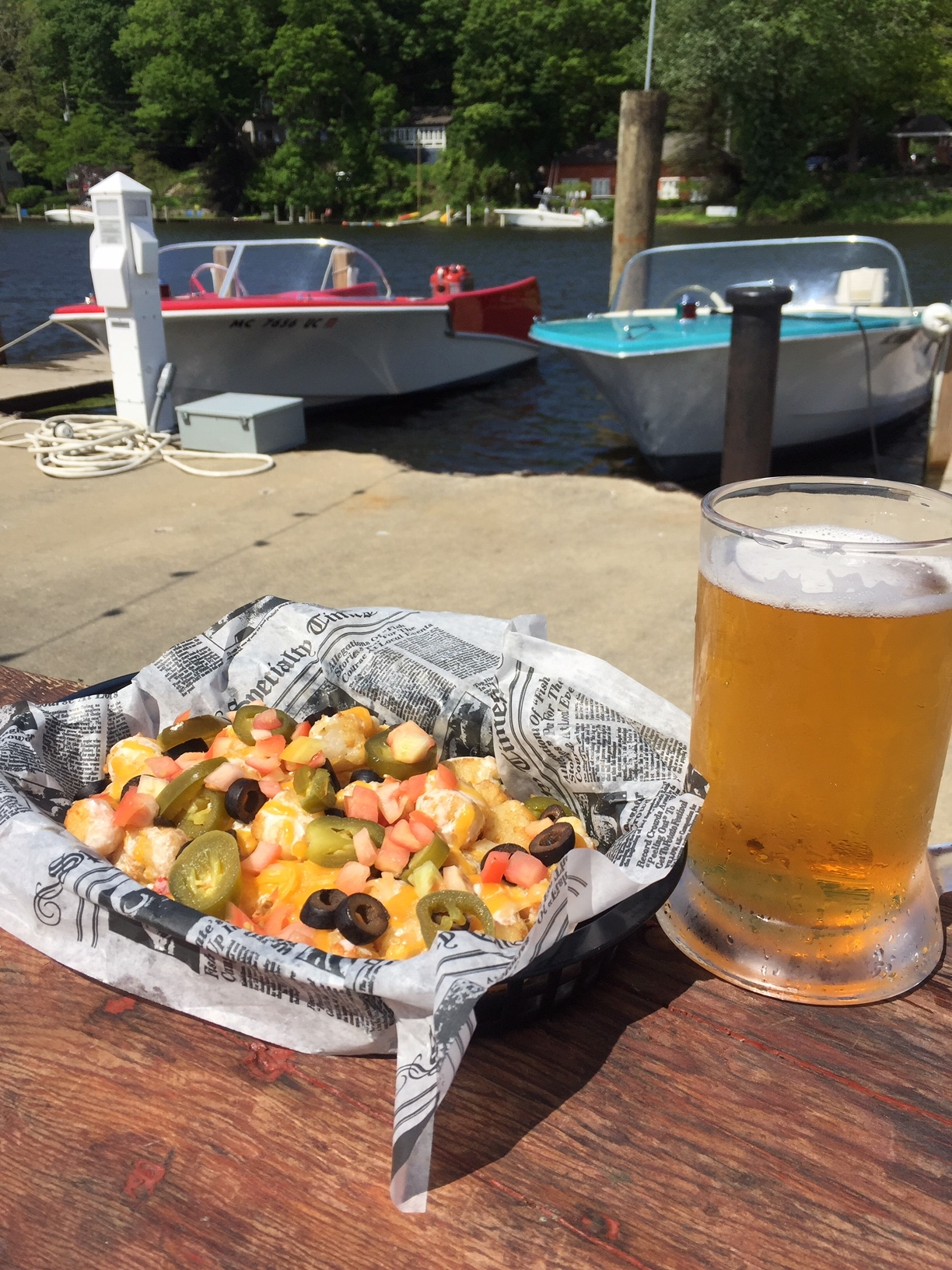 Nachos and Beer or, wine, cider or mixed drinks on the patio at the Old Boat House